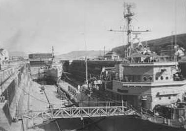 Sasebo Drydock with USS Pivot in the rear